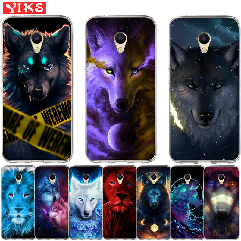 Luxury Starry animal lion wolf Cases For <font><b>Meizu</b></font> M5S <font><b>M3S</b></font> M5C M3 M5 M6 S C Note U10 U20 Pro 6 Case <font><b>Cover</b></font> Coque Fundas Capinha Etui image