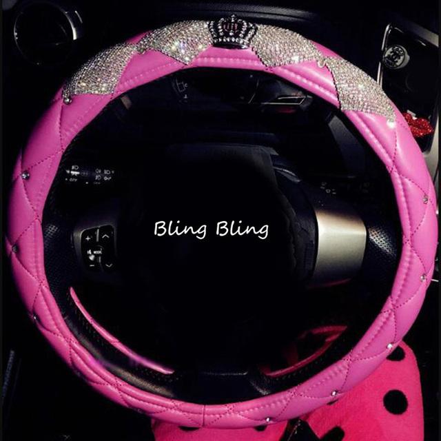 Cubiertas de volante de coche de cuero con corona de diamante de lujo con diamantes de imitación brillantes de cristal para niñas accesorios interiores de coche