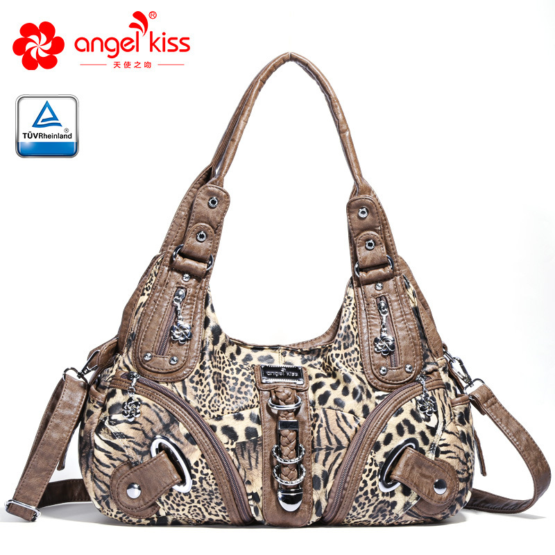 Angelkiss Hot Selling Washed PU Leather Handbag four seasons Tide Simply Tote Handbags Ladies Handbags Women