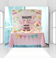 New Photographic Background Pink Birthday Unicorn Backdrop Colored Flag Rainbow Photocall Professional Customize CZ 099
