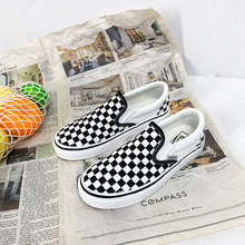 2019 new fashion canvas shoes black and white checkered coup