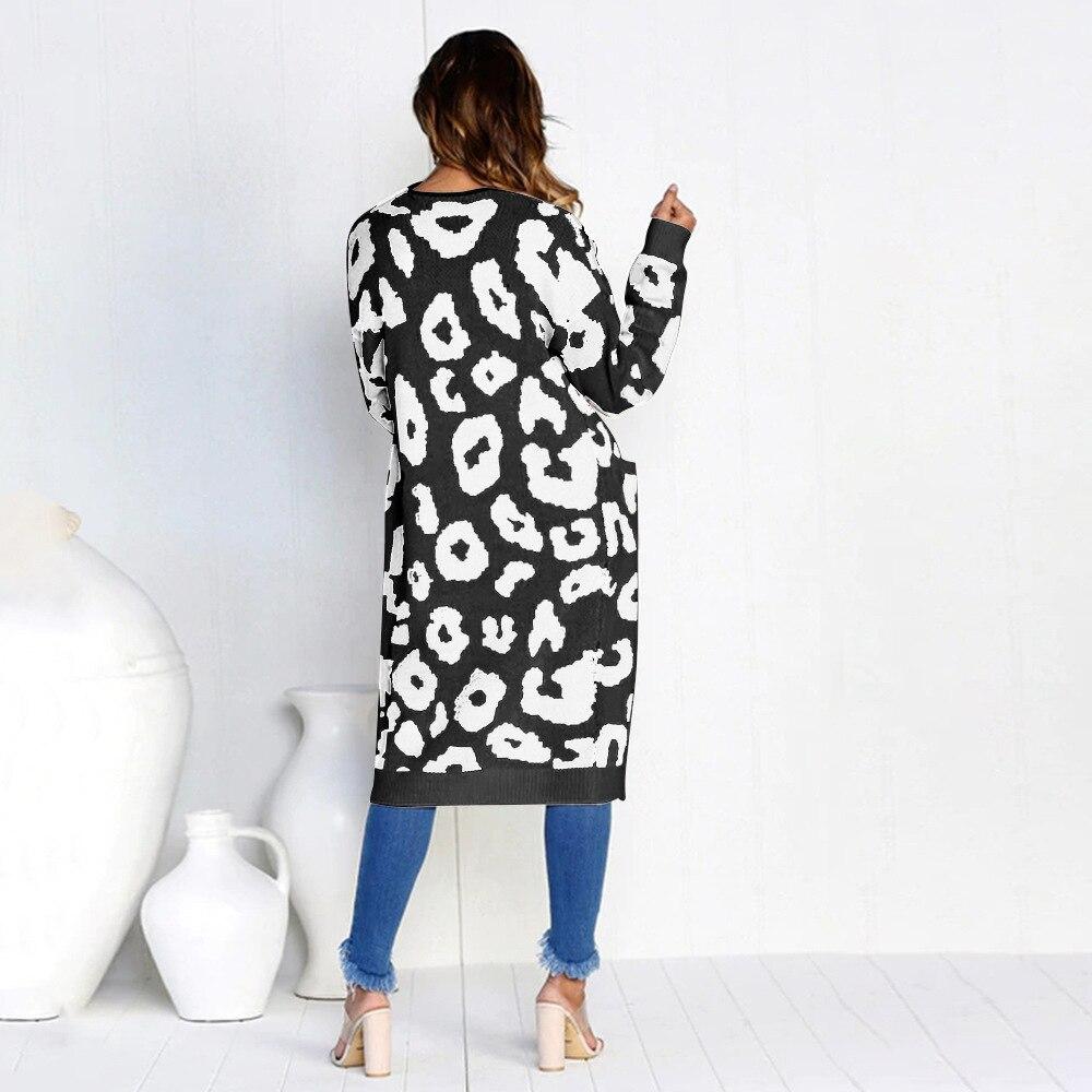 Spring & Autumn Winter Fashion Women Cardigan Christmas Leopard Print Pocket Sweater