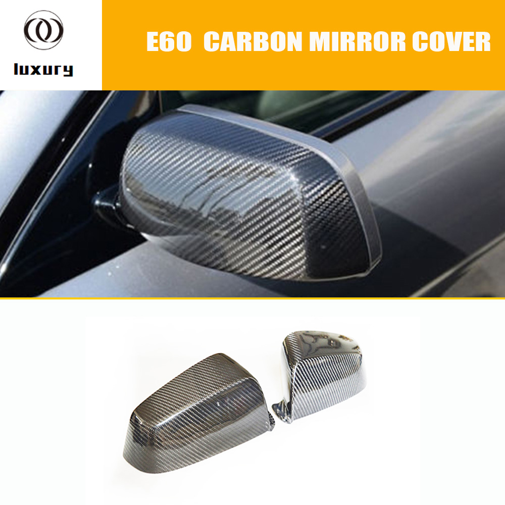 E60 Carbon Fiber Front Side Mirror Cover Cap Trim for BMW E60 5 Series 520i 523i 530i 535i 520d 525d 530d 535d 2004 - 2009 new high end classical chinese style acryl aluminum led mirror light for bathroom bedroom living room wall lamp 1026