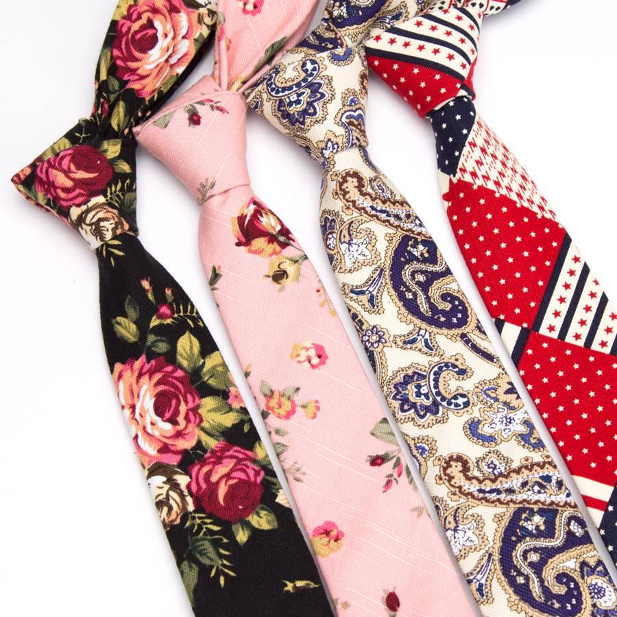 XGVOKH Mens Tie Cotton 5cm Print Necktie Slim Ties For Men Flowers Wedding Party Bowtie Clothing Accessories Tie Handkerchief