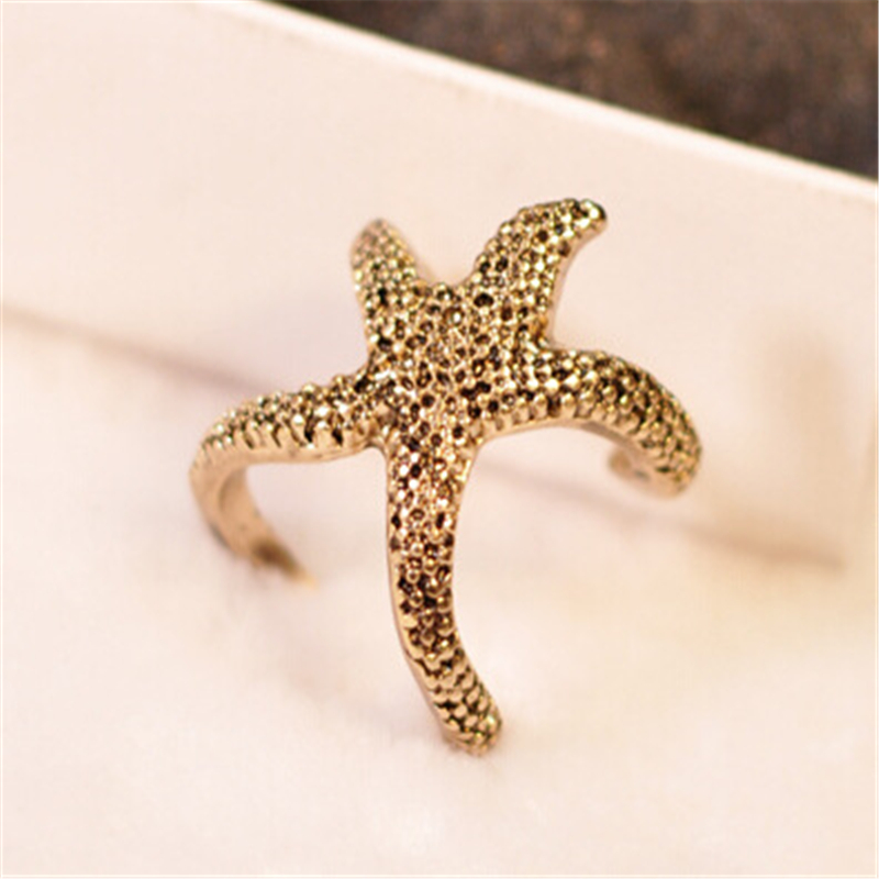 ANGRLY 5pcs European and American Retro Punk Style Three-dimensional Models of Classic Special Starfish Ring Wedding Decoration