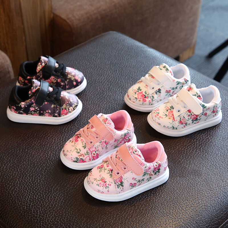 2017 new small floral girl toddler shoes baby breathable fashion cute casual shoes