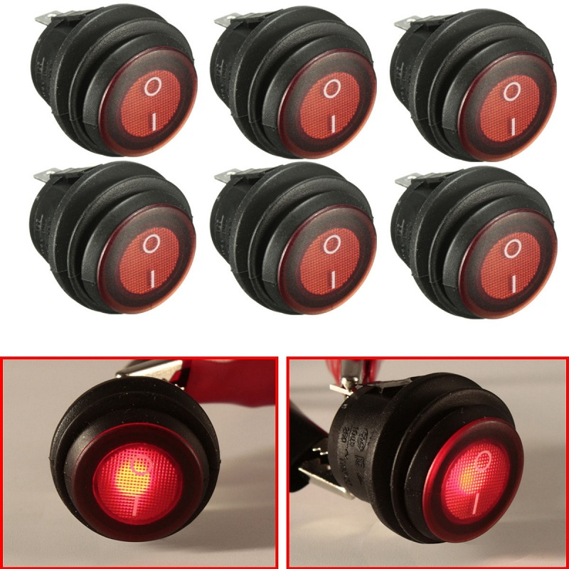 6pc OLS 12V DC 25A On/Off Rocker Switch IP65 Waterproof 3P SPST LED illuminated Red on the open shanghai wing star ship switch kcd6 21n f ip65 waterproof switch 6a 4 foot red 220v