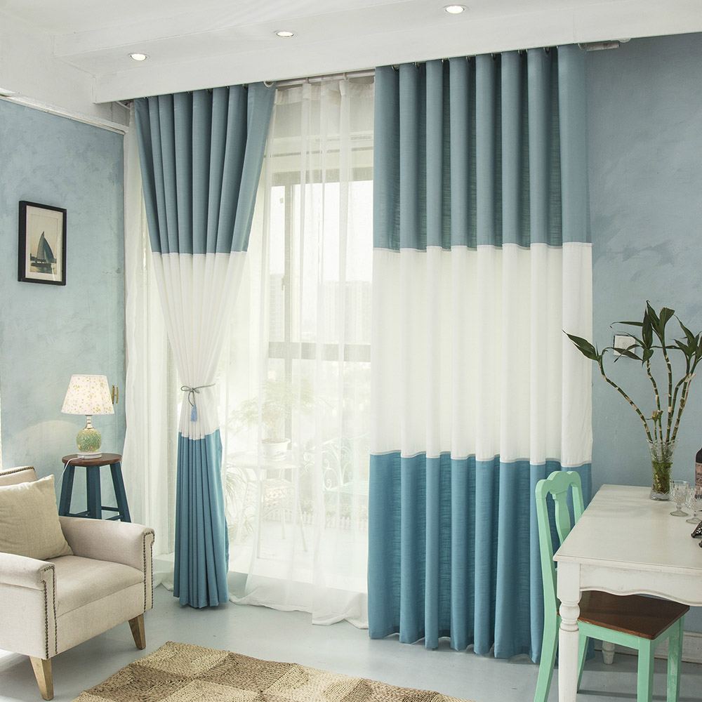 Modern Plain Linen White Voile Splicing Pink Curtains For Living ... for Blue And White Curtains For Living Room  55nar