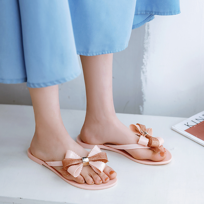 Rouroliu Women Simple Fashion Outside Travel Jelly Beach Shoes Mix Colors Comfortable Non-Slip Bowknot Flip Flops Woman RB264