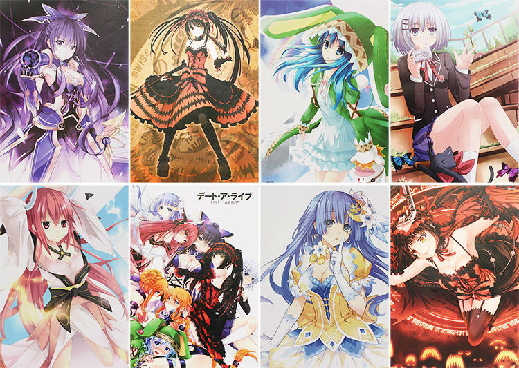 ФОТО 8pcs/set high quality cartoon anime date a live posters paper poster wall sticker room decoration 42x29cm action figures