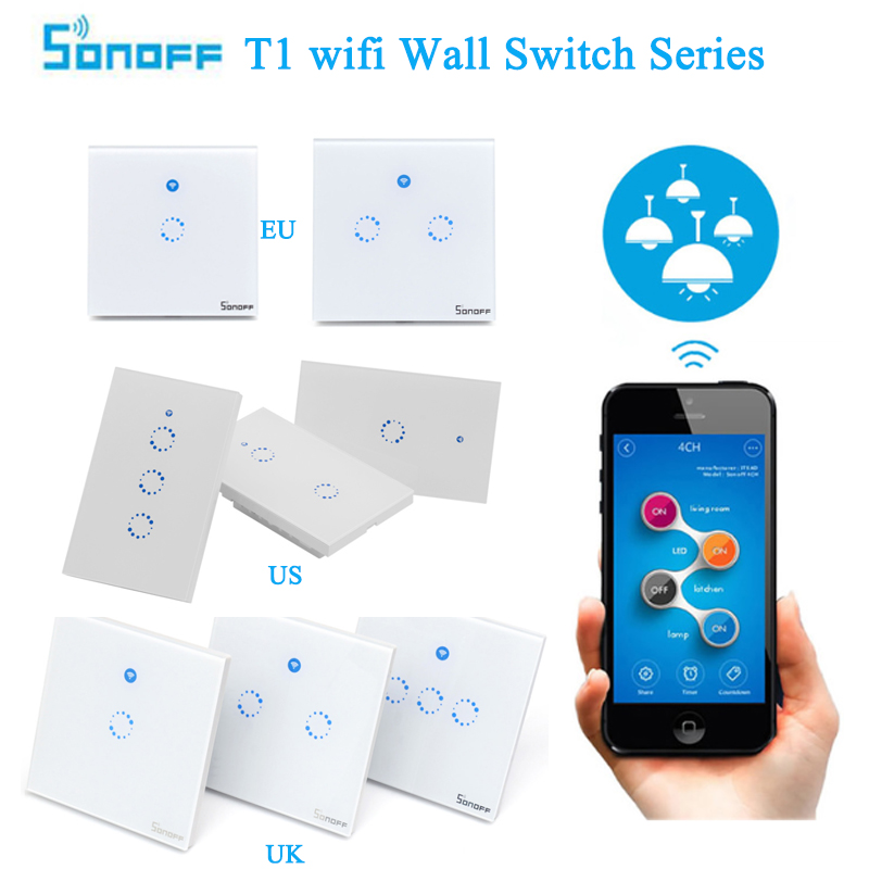 Sonoff T1 EU US UK Smart Wifi Wall Light Switch 1 2 3 Gang Touch/WiFi/RF/APP Remote Smart Home Wall Touch Switch Work with Alexa sonoff t1 us smart wifi wall touch light switch 1 2 3 gang touch wifi rf app remote smart home controller work with google home