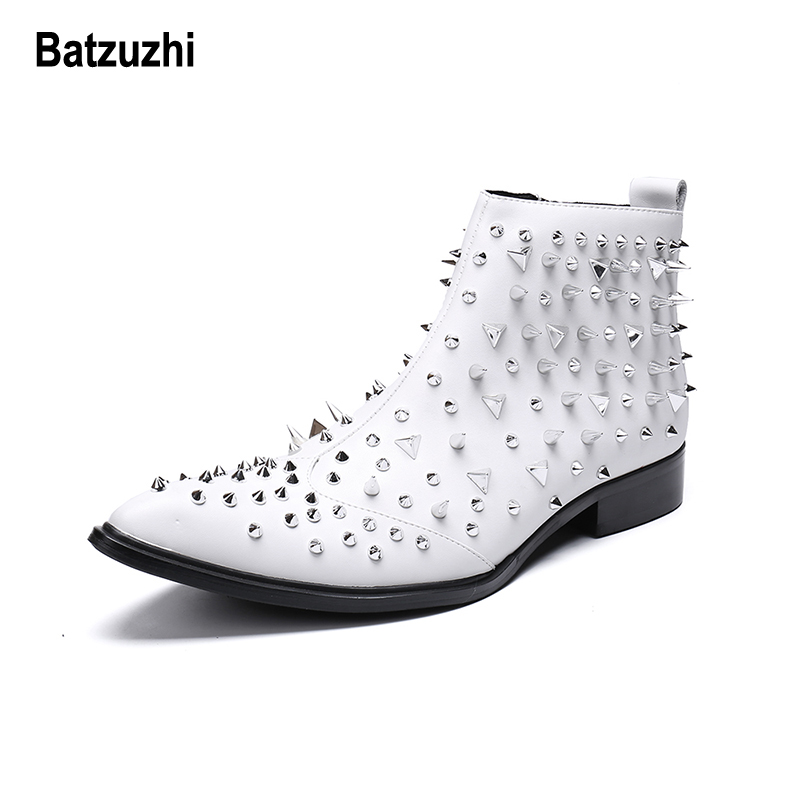 4d384a4a5 Batzuzhi Rock Men Boots with Rivets Spikes White Leather Boots Men Pointed  zapatos de hombre White