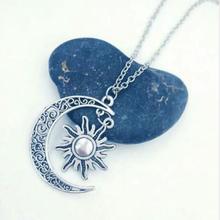 Best Friend Lovers Moon Sun Necklace Set Couple Chain Jewelry DIY 60cm Long Women