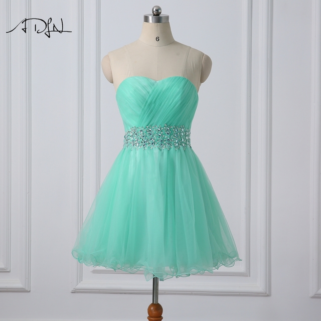 ADLN Mint Green Cocktail Dress Sweetheart Sleeveless Tulle A line ...