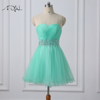 ADLN Mint Verde Vestido de Cocktail Querida Mangas Tulle A-line Curto Desgaste Do Partido Mini Vestido Do Regresso A Casa 2017
