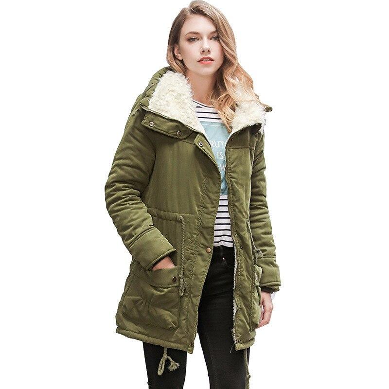 2018 New Women Coat Thickened Cotton Winter Jacket Lamb Wool Lining warm coat plus size adjustable waist   Parkas   Fashion outwear