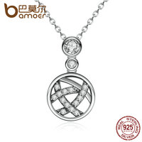 BAMOER Popular 100 925 Sterling Silver Irregular Weave Round Pendant Necklaces For Women Fine Jewelry Wedding