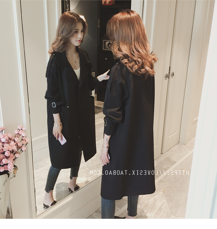 2019 Turn-Down Collar   Trench   Outerwear Women Cardigans Spring Autumn Casual Long Loose Overcoat Female Coat high street Green