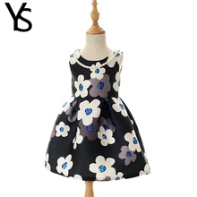 2-6 Years Baby Girls Dress Clothes For Bebe Kids Children Toddler Little Girls Floral Print Sleeveless Thicken Dress