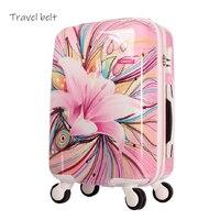 Reise Gürtel hohe qualität Die meisten schöne Roll Gepäck Spinner 20 zoll frauen marke Koffer Räder passwort reisetasche