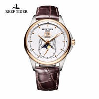 Reef Tiger/RT Brand Fashion Watches for Men Sports Double Window Date Genuine Leather Strap Mechanical Moon Phase Watch Clock