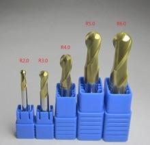 купить 5PCS Diameter 4mm 6mm 8mm 10mm 12mm Carbide ball nose end mills CNC machine milling cutter bits metalworking HRC45 HRC58 HRC62 по цене 3504.06 рублей