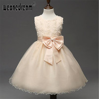 Flower Girl Dress 2017 A Line Lace Up Ankle Length Girl Kids Dresses Princess For Wedding