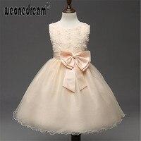 Flower Girl dress 2017 lace up borboleta A-line tornozelo comprimento da menina crianças vestidos de princesa para a festa de casamento de aniversário kids'dress