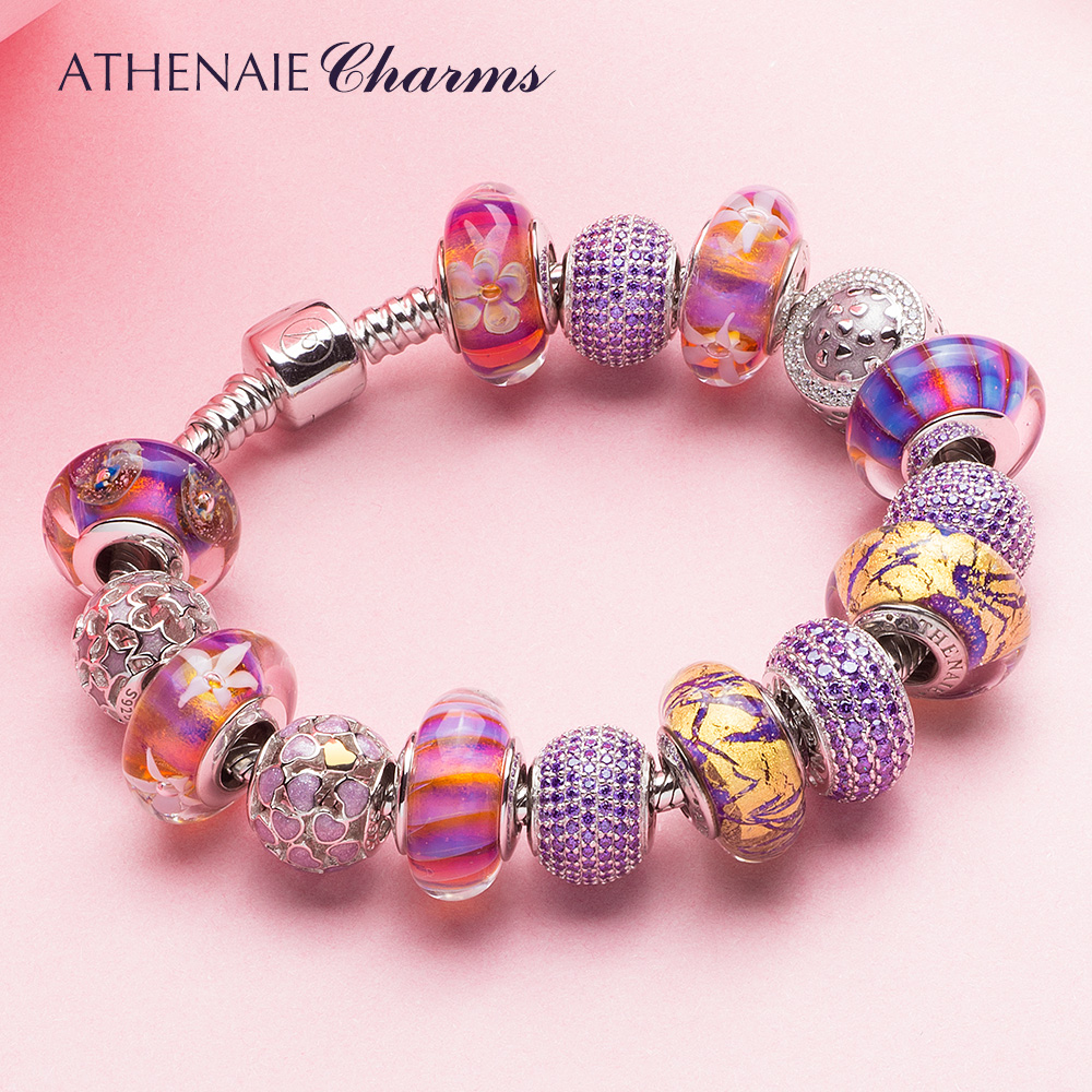 ATHENAIE 925 Silver Color Strand Bracelet Elegant Purple Flower Gold Foil & Enamel Murano Glass Beads For Women Charm Bracelet sweet beads layered flower bracelet for women