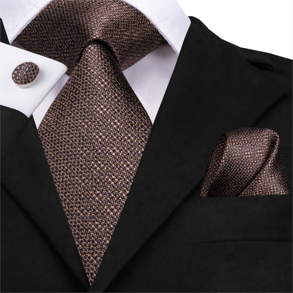 SN-3189 Hi-Tie Men Tie Silk Necktie Brown Ties For Men High Quality Men's Wedding Party Business Classic Hanky Cufflinks Set