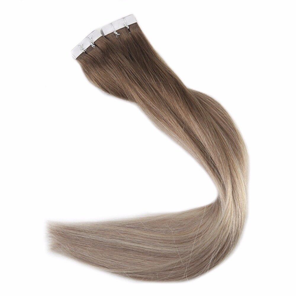 Haarverlängerung Und Perücken Voller Glanz 100g Balayage Remy Band In Haar Extensions Haar #2 Darkest Braun Verblassen Zu #8 Und #22 Blonde Verlängerung Haut Schuss Band