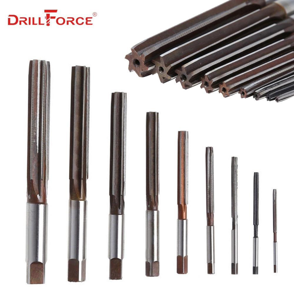 1PC 3-40mm Hand Reamer Precision H8 9SiCr Straight-shank Engineering Tools (3/4/5/6/7/8/9/10/11/12/13/15/20/22/25/30/32/35/40mm)