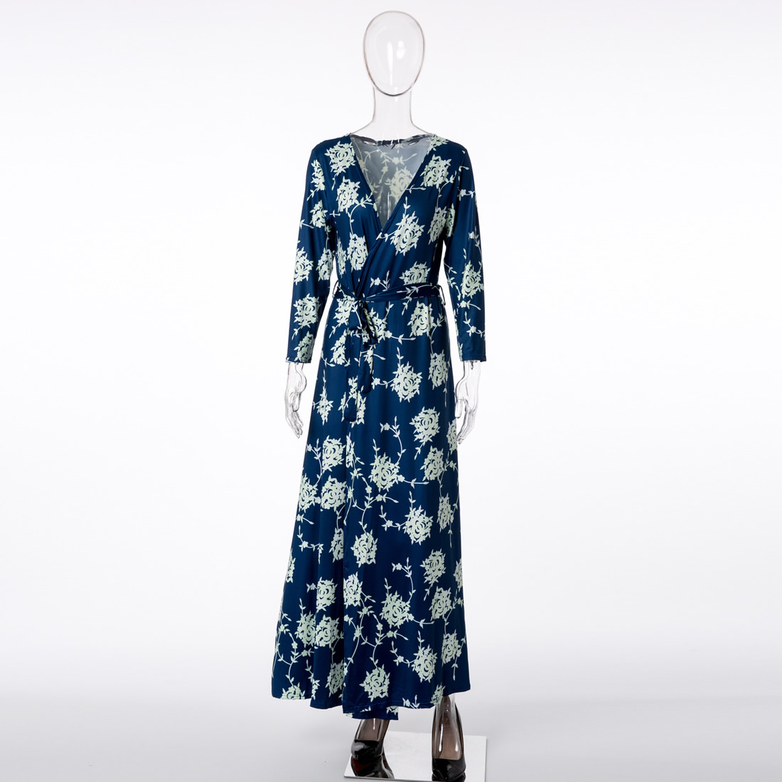 Oversized Vintage blue Print Floral Long Kimono Cardigan Blouse Shawl Side Split Hem Shirt Women Streetwear women clothes 2017