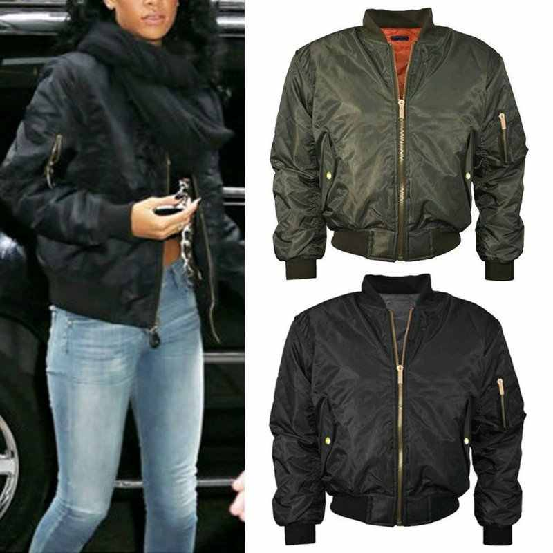 ade4215e56 Classic Autumn Jacket Women 2018 Cool Vintage Zip Up Padded Solid Bomber  Jacket Ladies Biker Coat