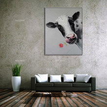 pop art Canvas painting Cow acrylic painting Wall art Pictures For Living Room Home decor animal art qudraos caudros decoracion(China)
