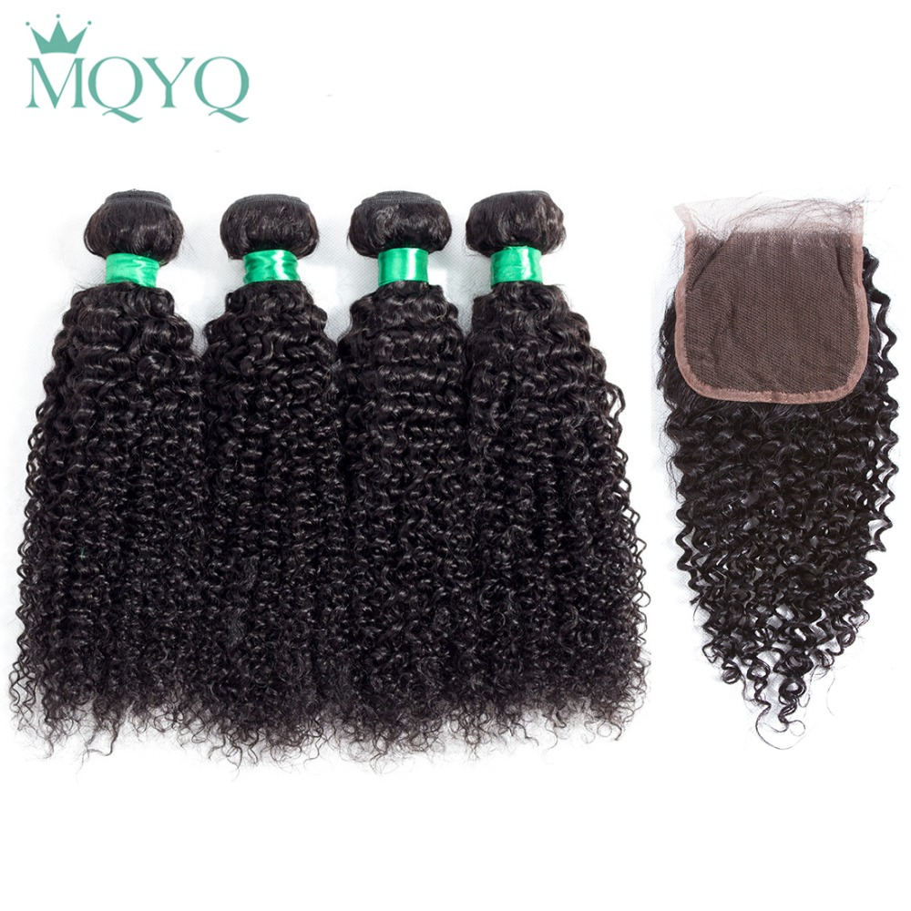 MQYQ Malaysian Curly Human Hair Bundles With Closure Kinky Curly Lace Closure With Hair Weave Bundles Malaysian Hair Extensions