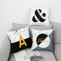 Wholesales Black White Cushion Cover Stone Pattern Gold Letter Soft Suede Fabric Home Decorative Pillow Case
