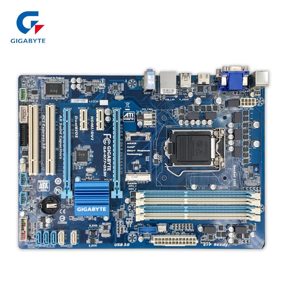 Original Gigabyte GA-H77-DS3H Desktop Motherboard H77-DS3H H77 LGA 1155 i3 i5 i7 DDR3 32G SATA3 ATX 100% Fully Test 77