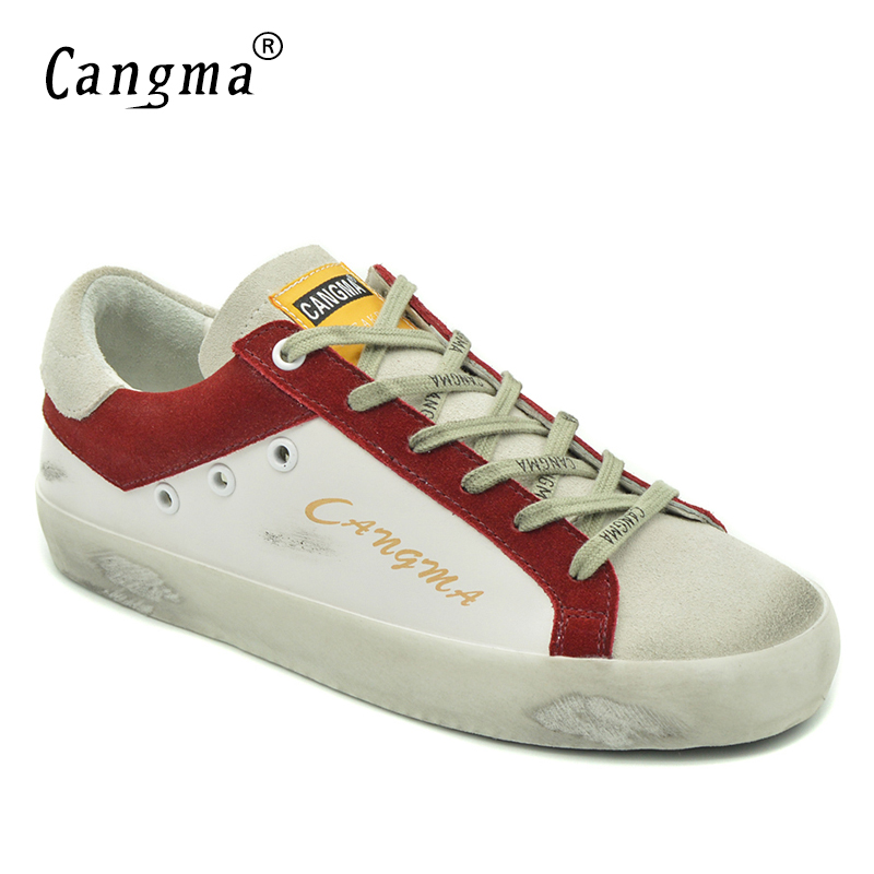 CANGMA Brand Luxury 100% Genuine Leather Sneakers Female Casual Shoes Cow Suede Woman White Lace-up Shoes Flats Women Footwear vesonal brand faux fur women shoes flats 2017 winter warm velvet female fashion ladies woman sneakers casual footwear tsj 189