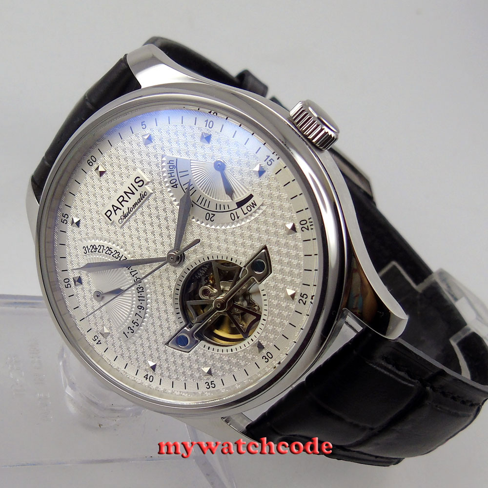 43mm parnis white dial leather power reserve ST automatic mens watch P41343mm parnis white dial leather power reserve ST automatic mens watch P413