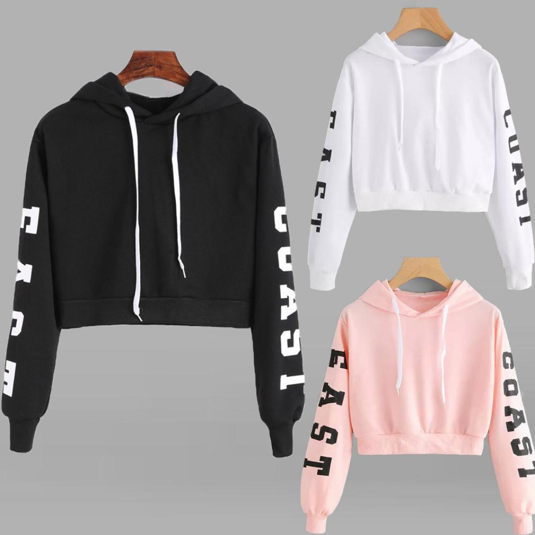 hot sale fashion  woman sweatshirts cotton casual full short Letter pullovers cute female hooded new