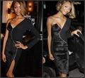 Sexy Black Celebrity Dresses 2017 Velvet One-Shoulder Straight Cutout Backless Off the Shoulder Long Sleeve Carpet Evening Gown