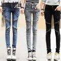Весна новая личность карман на молнии джинсы женские модели брюки футов шириной Песня Halun брюки trousers-dod348