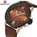 Naviforce nueva marca de lujo de los hombres del ejército militar relojes de pulsera de cuarzo de los hombres fecha reloj de cuero masculino reloj deportivo relogio masculino