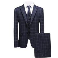 Классический плед Ман Костюмы Vogue из трех частей Slim Fit смокинг костюмы костюм Homme брак 2018 пальто в клетку штаны Masculino
