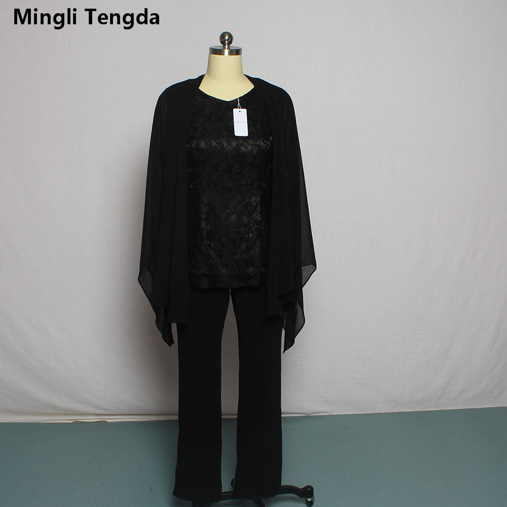 Black Lace Three Pieces Mother of the Bride Pant Suits Custom Made Sweetheart Neck Mother of
