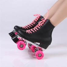 Double Roller Skates Black Genuine Leather With Pink PU Wheels Two Side Roller Skate Patines Lady Skates Adult Skate Shoes