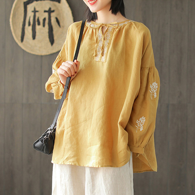 Johnature 2019 Spring Ramie Embroidery Floral Women Tops 3 Colors Loose Casual Vintage O-Neck Tie Solid Color Shirts New