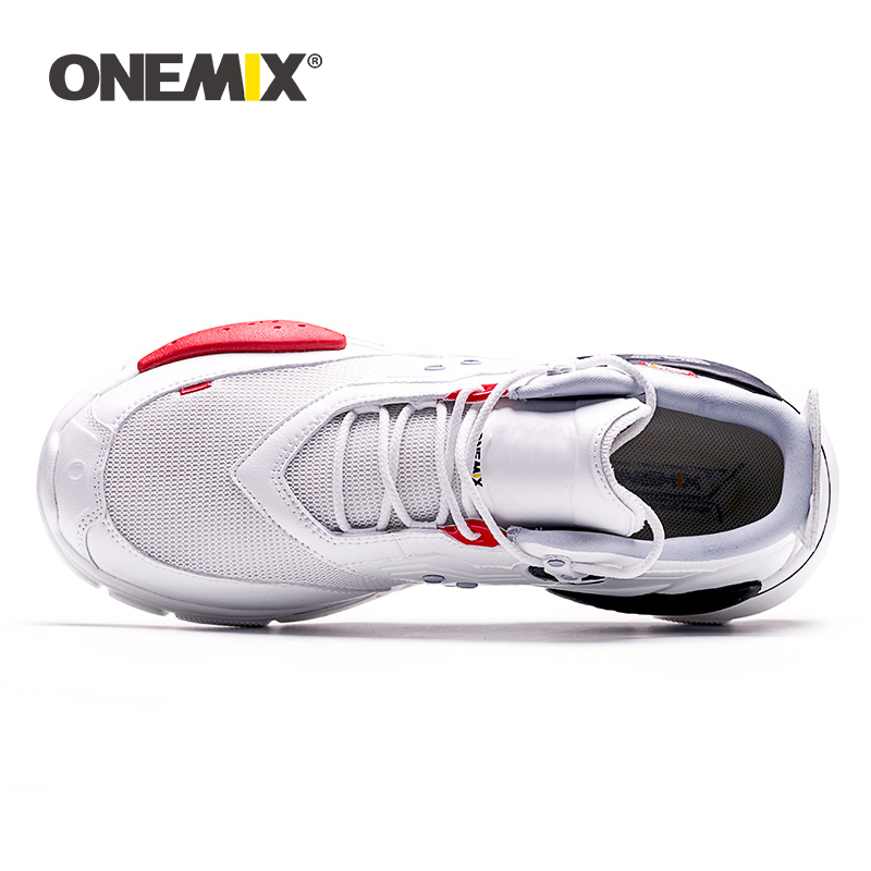 Onemix Man Running Shoes for Men Breathable Mesh White Sneakers Women Casual Female Light Non slip Outdoor Sports Training Shoes in Running Shoes from Sports Entertainment
