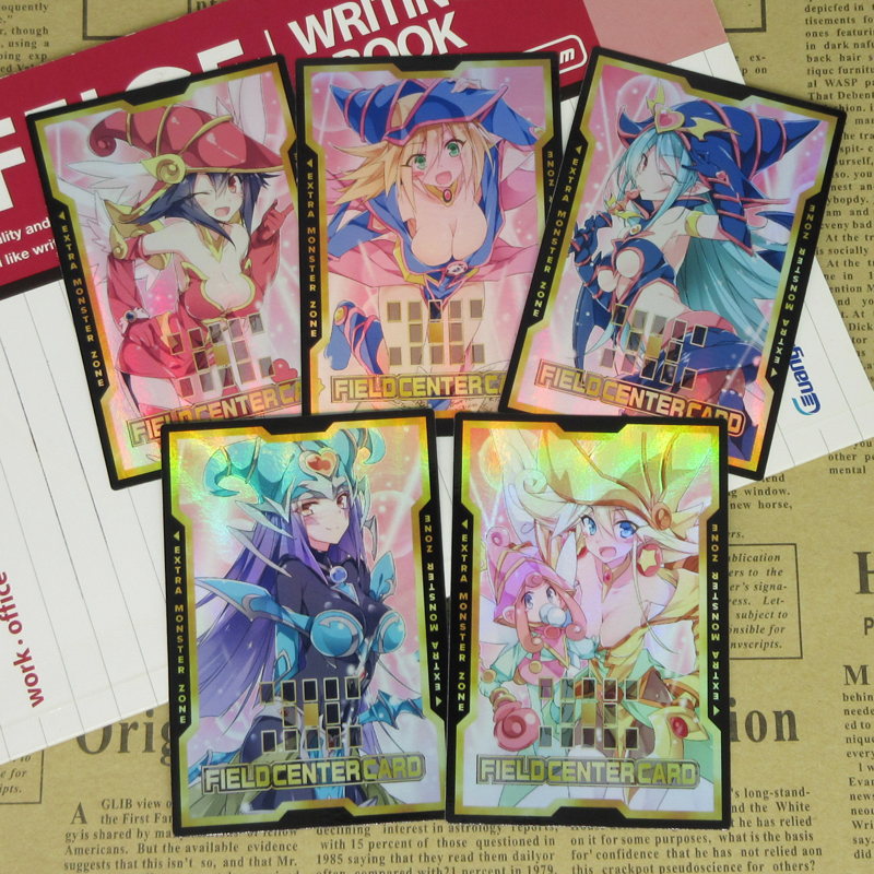 5pcs/set Yugioh Field Center Card Kawaii Sexy Magician Girls 20th Aniversary Altered Art Foil Custom Fieldcenter Proxy Orica